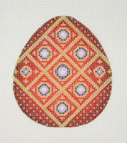 Jeweled Egg / Red & Gold / Purple Jewels