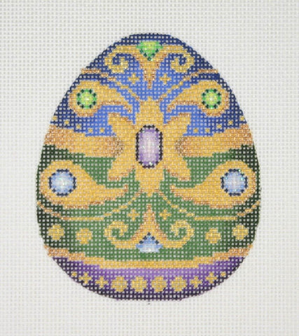 Jeweled Egg / Royal Blue, Forest Green, Purple &  Gold