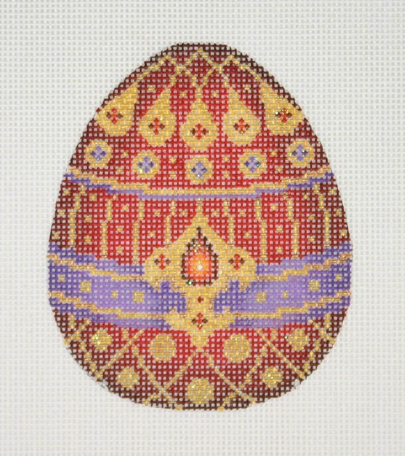 Jeweled Egg / Red, Purple & Gold / Red & Purple Jewels
