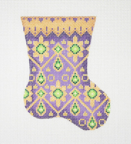 Christmas Mini-Sock / Purple / Gold Cuff / Green Jewels