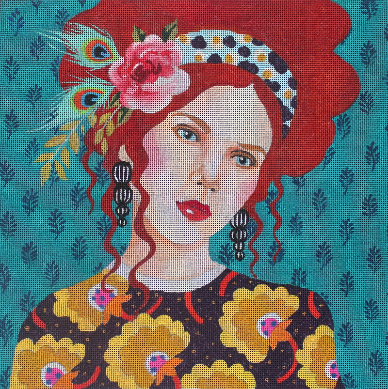 Lady with Turquoise Background