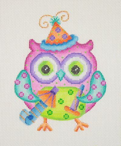 Owl / Party Hat / Pink, Green, & Aqua Body