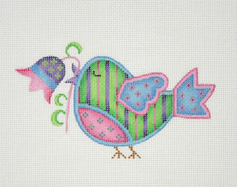 Spring Sweetie Tweetie - Green with Purple & Pink Stripes BB 3084