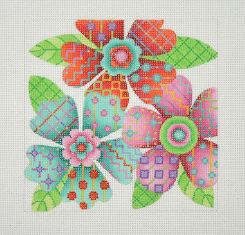 Pillow Insert / 3 Flowers / Red, Pink & Aqua