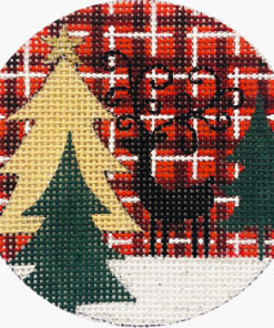 Reindeer and Trees on Plaid Ornament