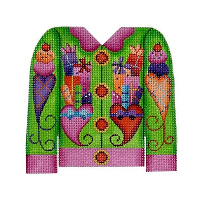 Christmas Cardigan ­ Packages on Green