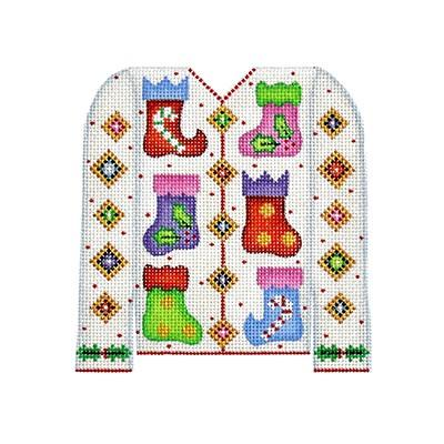 Christmas Cardigan - Stockings on White BB 3106