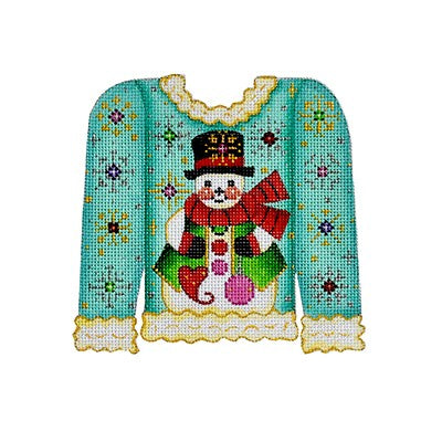 Christmas Sweater ­ Snowman on Turquoise