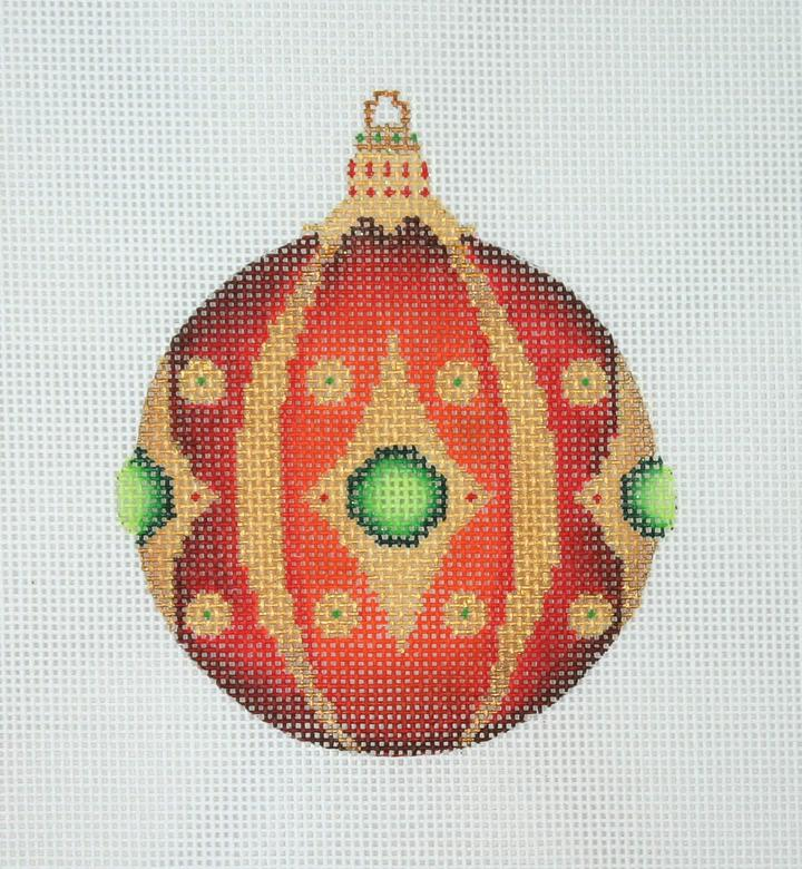 Jeweled Christmas Ball - Red and Green Jewels BB 3131