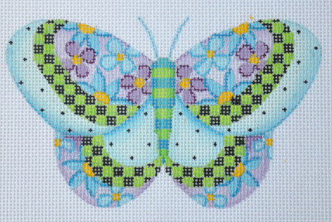 Butterfly / Blue with Purple & Blue Flowers