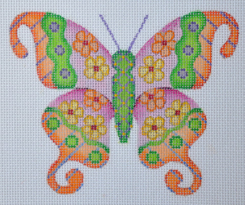 Butterfly / Pink & Orange with Green Accents