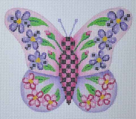 Butterfly / Pink & Purple with Purple & Pink Flowers