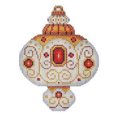 White & Gold Ornament - Ruby Jewels BB 3225