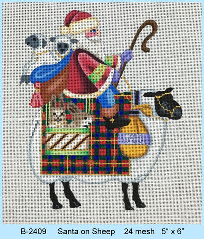 Santa on Sheep   24 mesh
