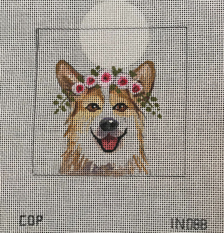 Corgi with Floral Crown