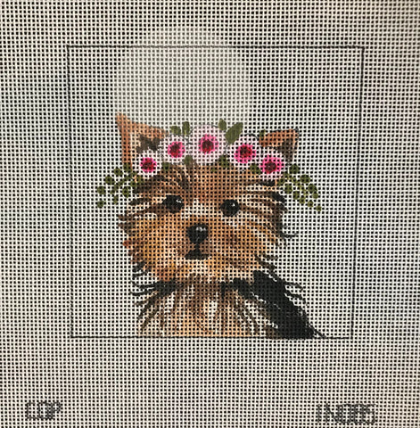 Yorkie with Floral Crown