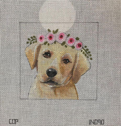 Yellow Lab with Floral Crown