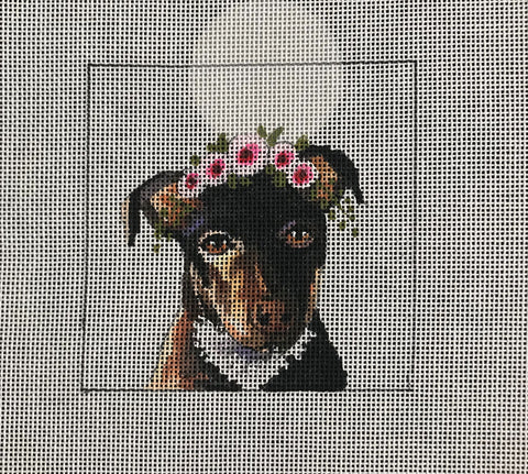 Black/Tan Terrier with Floral Crown