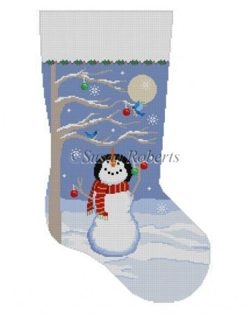 Moonlit Snowman Bird Tree, stocking 3207