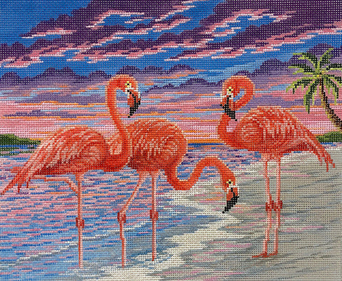 Flamingos at Sunset