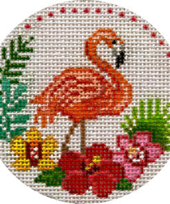 Flamingo with Tropical Flowers Ornament