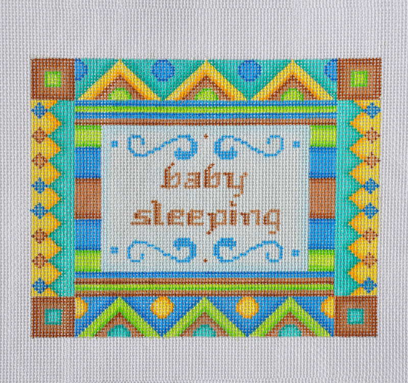Baby Sleeping Sign- Shapes- Brown/ Blue
