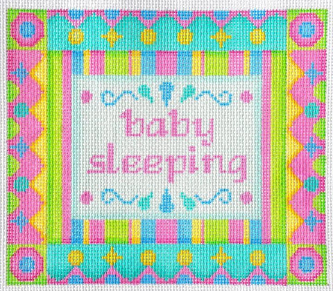 Baby Sleeping Sign - Pink & Green Shapes BB 6042