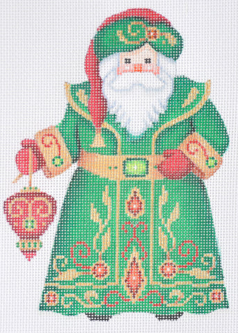 Santa Claus- Green Robe w/ Red Ornament