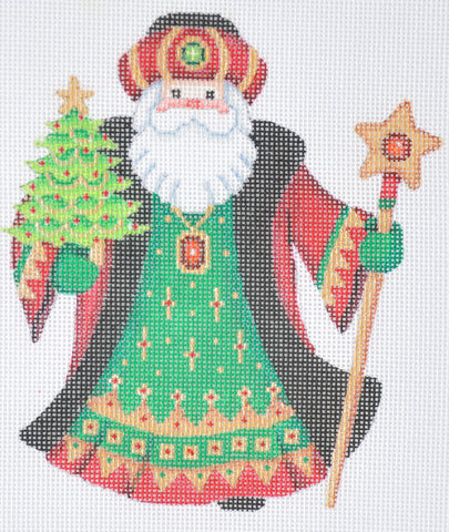 Santa Claus- Black Robe w/ Mini Tree