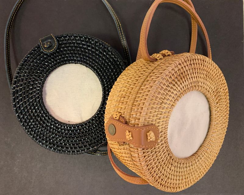 Round Rattan Self Finishing Purse