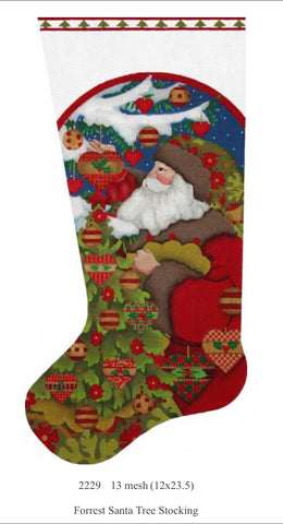 Forest Santa Tree Stocking