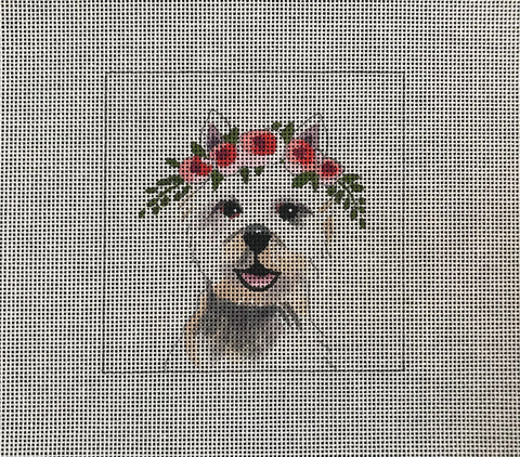 Westie Dog with Floral Crown