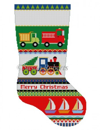 Bold Stripe, Trucks, Train, Boats, stocking 3234