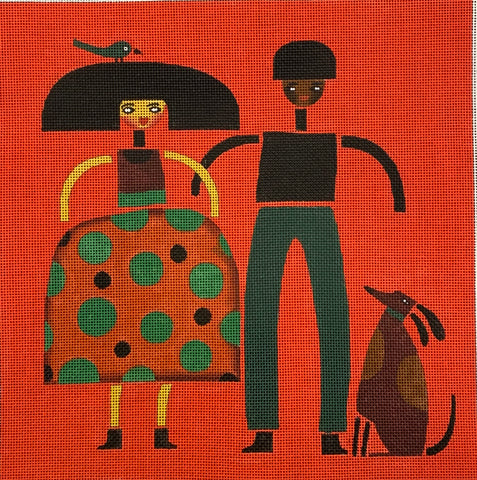 Couple, Bird, Dog