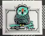 #91 Teal & Blk Owl on Branch