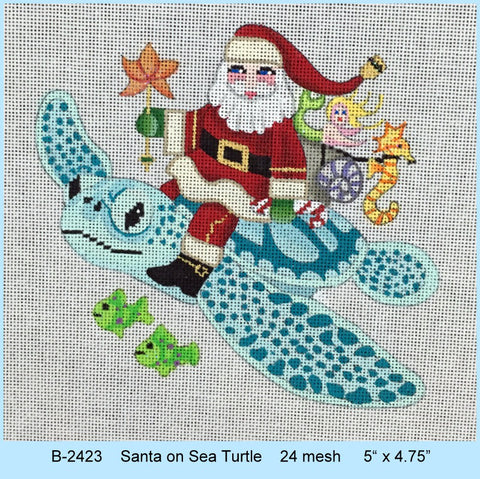 Santa on Sea Turtle   24 mesh