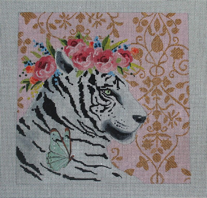 White Tiger with Floral Crown