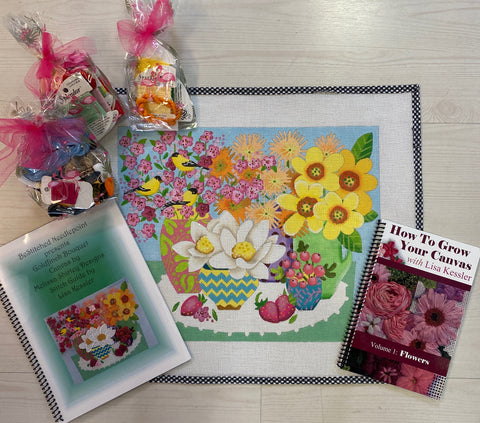 Goldfinch Bouquet Canvas, Stitch Guide and Thread Kit