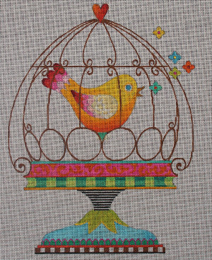 Bird in Cage - BeStitched Needlepoint