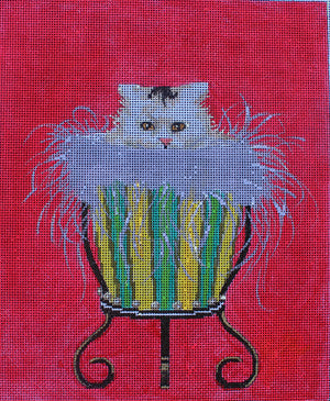 Cat in Urn - BeStitched Needlepoint