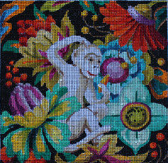 Floral/White Monkey - BeStitched Needlepoint