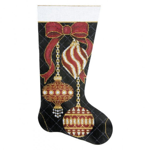 Burgundy Ornaments Christmas Stocking