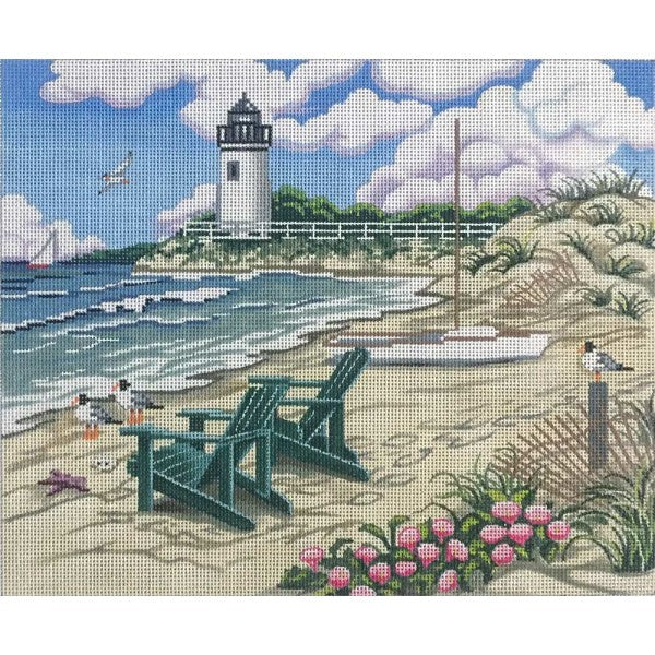 Beach Scene with Lighthouse