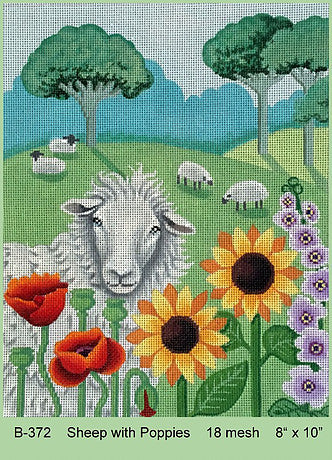 Sheep with Poppies
