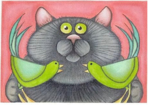 Gray Cat w/ 2 Green Birds
