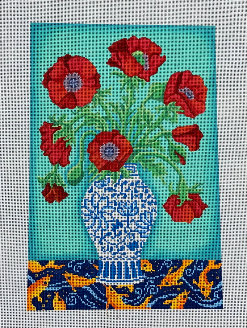B-527 Red Poppies in Blue-White Vase