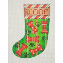 Christmas Min-Sock / Woof/ Candy Cane Border