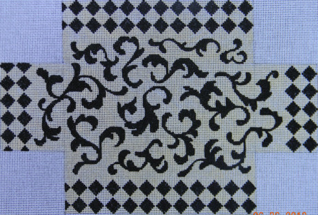Black/Cream Brick Cover - BeStitched Needlepoint