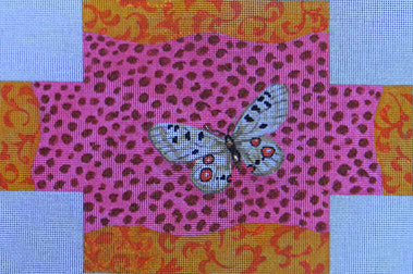 Butterfly Pink Leopard Brick Cover - BeStitched Needlepoint