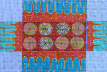 Red/Turquoise Pattern Brick Cover - BeStitched Needlepoint